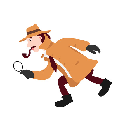 The character is a detective in a beige raincoat and hat in his hands he holds a magnifying glass. Hold the tube side view isolated on white background flat vector illustration. Illustration