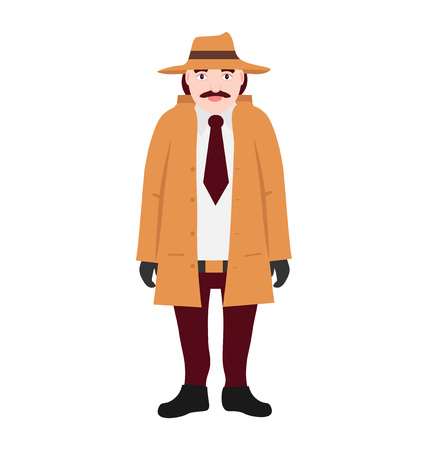 The character is a detective in a beige raincoat and hat and in his hands he holds a magnifying glass. Front view isolated on white background flat vector illustration. Illustration