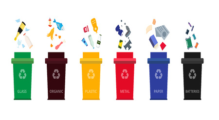 Separation dustbins with organic, paper, plastic, glass, metal waste and batteries.