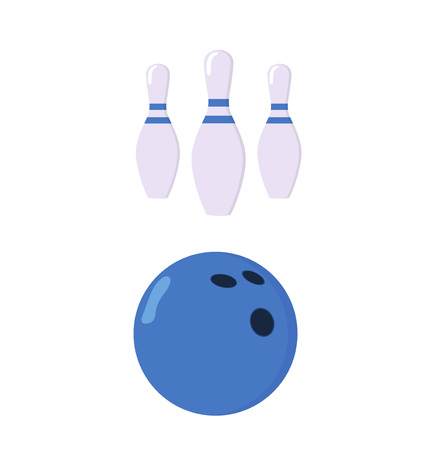 Set for bowling. A ball and three pins. The ball stands in front of the skittles. The concept of a sports game. The concept of bowling. Flat vector illustration isolated on white background.
