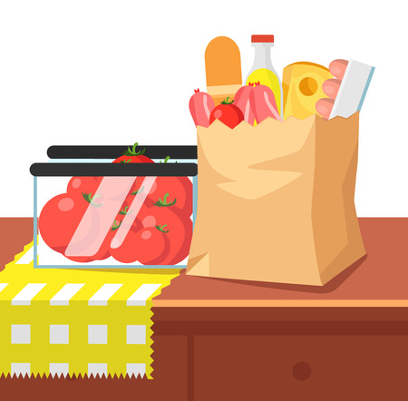 Paper bag with food and container with tomatoes on the home table. Groceries in a paper bag. Include sausages, bread, cheese, eggs, tomatoes, lemonade. Flat vector illustration isolated on white.