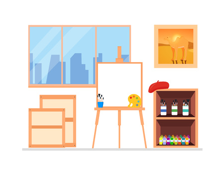 Painter artist workshop room interior with window. Illusztráció