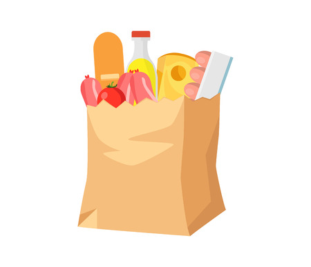 Paper bag with food. Groceries in a paper bag.   Flat style vector illustration isolated on white background.