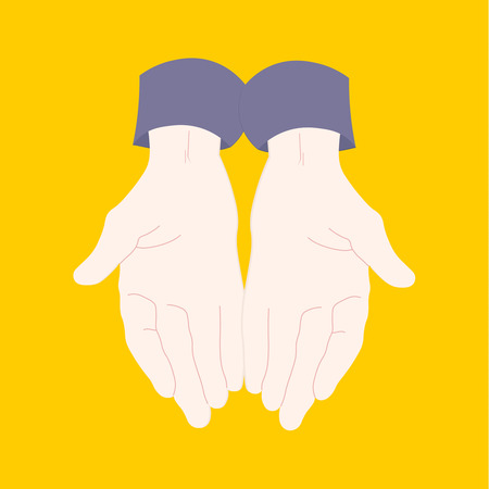 Young man pair of hands with exposed palm.   Flat vector illustration  Isolated on yellow background. Ilustração