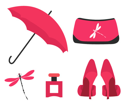 A set of fashionable glamorous things. Includes umbrella, high-heeled shoes, cosmetic bag, perfume, brooch - dragonfly. Fashion, beauty, cosmetics, daily look set. Flat vector illustration on white. Ilustração