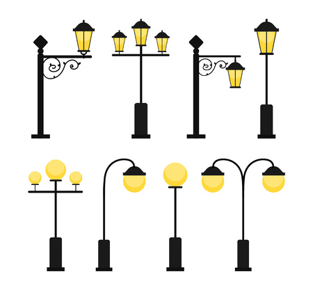 A set of vintage street lamps for roads and parks. A set of antique decorative lamps. A set of round modern lamps. Industrial electric objects. Flat vector illustration. Isolated on white background.  イラスト・ベクター素材