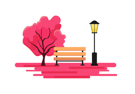 Blossoming city park in spring with a bench, a dense pink tree and a lantern.