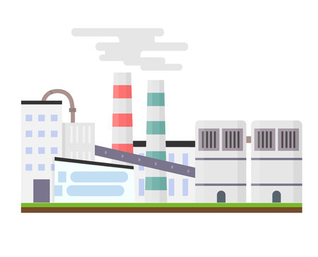 The industrial factory stands on green grass. Outside view. Modern manufacturing building. Eco factory concept. Non-pollution. City landscape. Flat vector illustration isolated on white background.