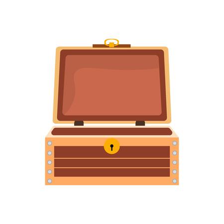 Empty antique vintage wooden chest. Open retro container.