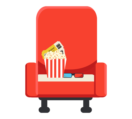 Armchair for a cinema on which there is a box with popcorn, two tickets and 3-d glasses. Cinematography.