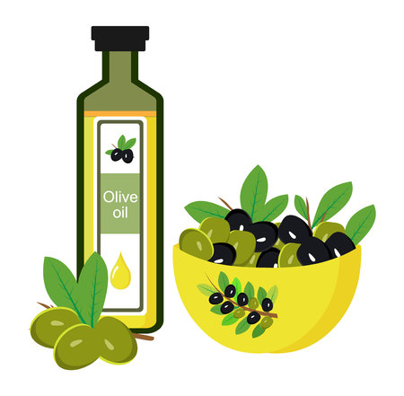 A bottle filled with olive oil and a sprig of olives near her. Bowl with green and black olives. Organic natural virgin oil. Flat vector illustration isolated on white background. Illustration