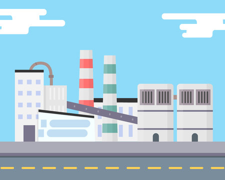 The industrial factory stands near the road. Outside view. Modern manufacturing building. Eco factory concept. Non-pollution technology. City landscape. Flat vector illustration isolated. Illustration
