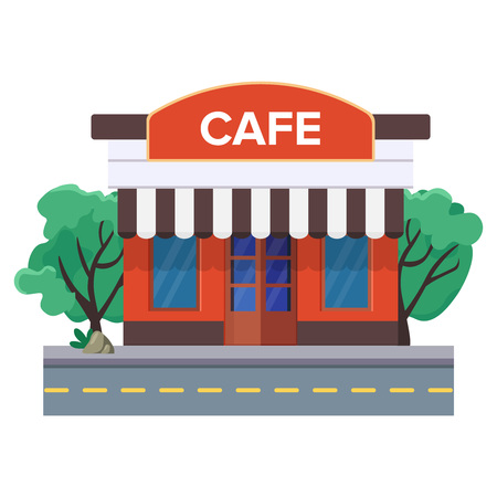 A street cafe or coffee shop near the road and trees behind building. Urban coffee house. View from the outside. European little cafe with a large sign. Flat vector illustration. Isolated on white.