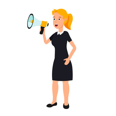 A woman in a black dress is talking through a loudspeaker. Businesswoman speak to megaphone. Illustration