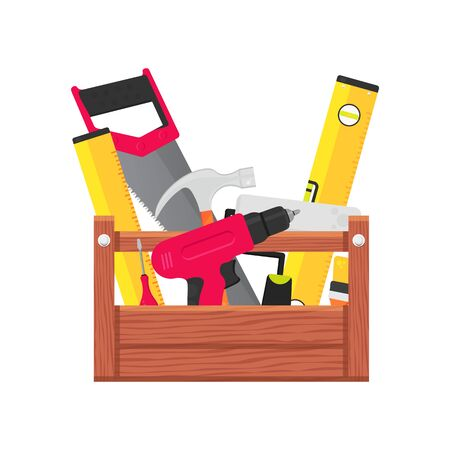 Set of building tools repair. Builder service hardware. Include drill, hammer, screwdriver, saw, file, putty knife, ruler, roller, brush. Tool box isolated in modern flat style. Vector illustration.