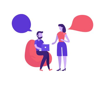 Man and woman speaking in co working. Working sitting man. Couple or teammate dialogue. Bubble speeches messages. Business people discuss social network, news. Modern flat style vector illustration.