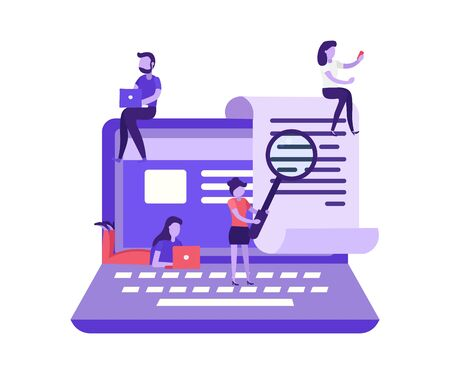 Seo search text concept. Find document in web on computer. Check key word in text.  Electronic payment, payment notification testing. People searching information in internet. Flat vector illustration