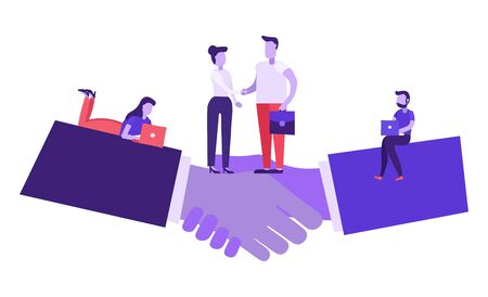 Online partnership concept. Signing documents. Man and woman hand shake, meeting agreement of parties, team work, start up, hiring. People employers with laptops. Corporate deal success. Flat vector.