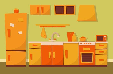 Cozy kitchen cooking room with house appliance and furniture. Apartment interior.  Stove, cupboard, dishes, fridge and utensils. Flat cartoon vector illustration.
