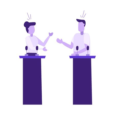 Political discuss between man and woman. People have debates about country problems. Politician patriotic speach before government elections. Modern flat vector illustration. 일러스트