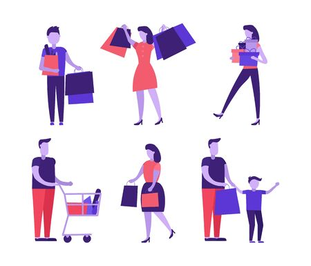 Character do shopping set. People shopping with shop bags. Women, men and children stand with their packages, trolley, baskets full of products. Flat cartoon style vector illustration isolated. Illusztráció