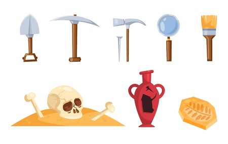 Archeology tools illustration