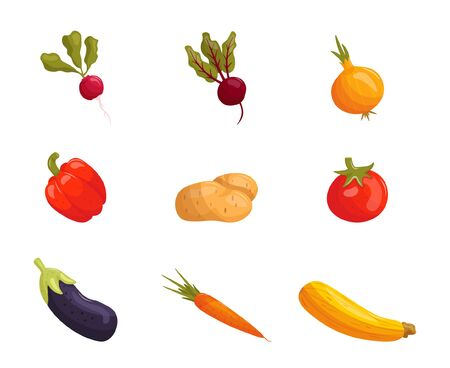Set of cartoon vegetables