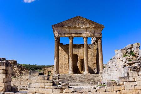 Ruins of the Capitol building in Dougga, Tunisia