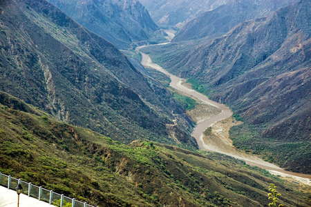 Landscape of the Chicamocha Canyon and river in Santander, Colombia Standard-Bild