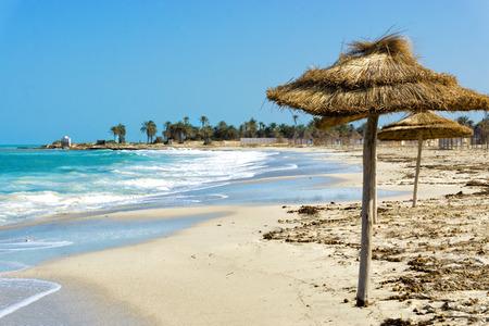 View of beach in the coastal area of Djerba in Tunisia