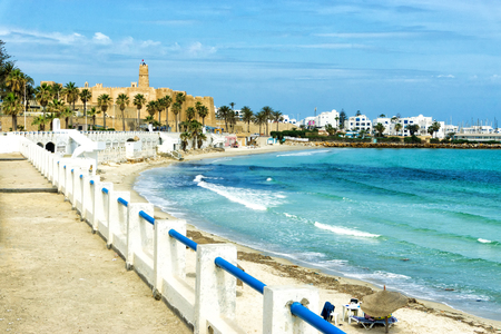 Landscape of waterfront and Ribat Fort in Monastir, Tunisia