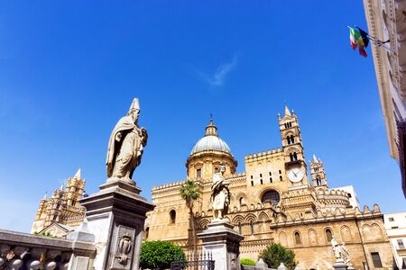 View of the sculptures in the entrance of Palermo Cathedral in Palermo, Italy