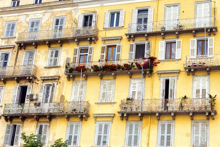 Old yellow building in the center of Corfu in Greece