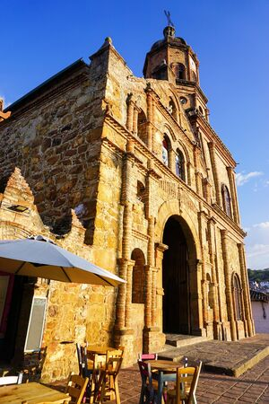View of the church of San Joaquin in the municipality of Curiti, Santander, Colombia
