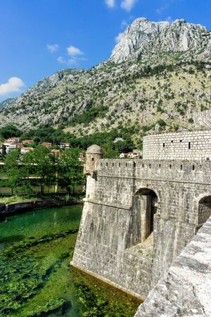 One of the bastion of historical walls on the Old Town of Kotor in Montenegro