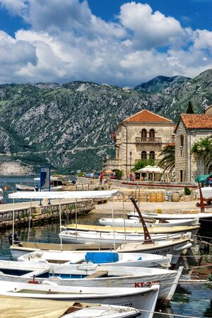PERAST, MONTENEGRO - JULY 8: View of boats and a marina in Perast, Montenegro on July 8, 2018
