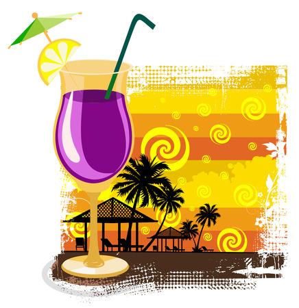 warm colors: C�ctel en el vidrio de fondo en el verano