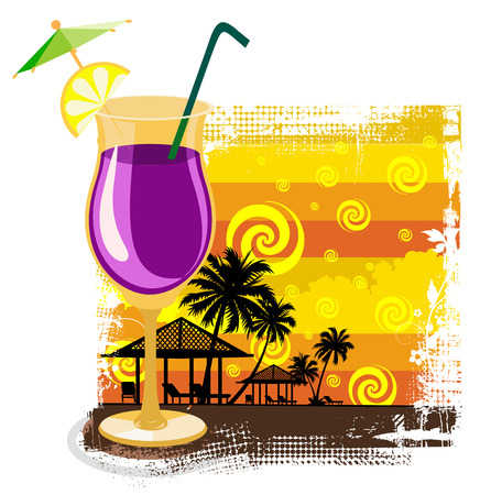 warm colors: Cocktail in glass on summer background Illustration
