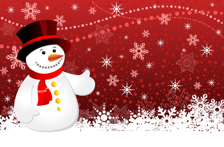 Christmas background with snowflakes and snowman, vector illustration 4 Vector