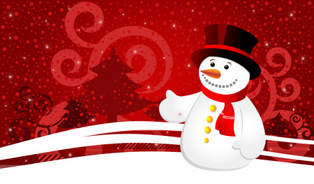 Christmas background with snowflakes and snowman, vector illustration 3 Vector