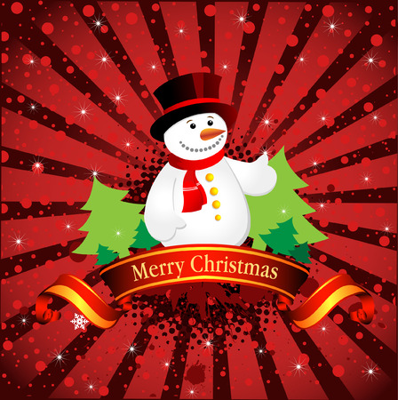 Christmas background with snowflakes and snowman, vector illustration 2 Vector