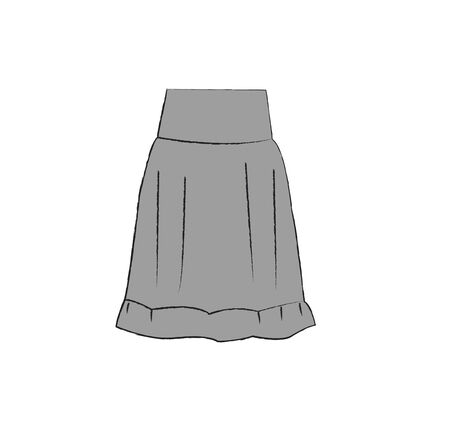 Vector illustration. Gray skirt. Women  white background. Stock Photo