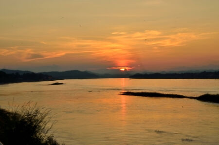 fraser river: Sunset of   silhouette  river view Stock Photo