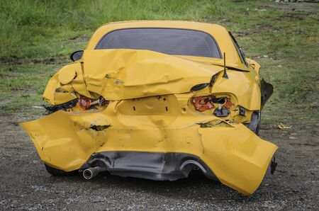 yellow car: Yellow Car accident