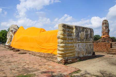 recline: Wreck Recline buddha and Wreck pagoda Stock Photo