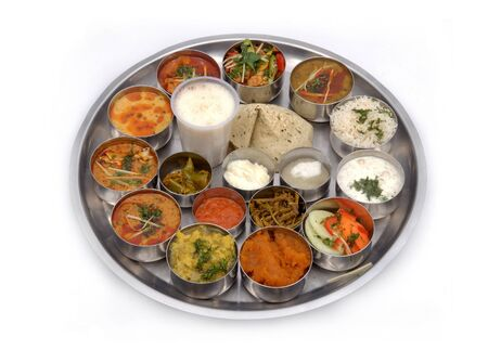 North India Food Thali. Isolated on a White Background Stock Photo