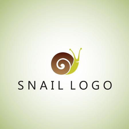 snail logo on background  イラスト・ベクター素材