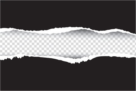 ripped paper black  , vector and illustration on transparent background Stock Illustratie