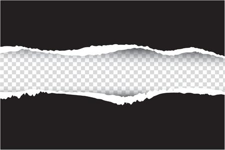 rasgado de papel negro, vector y la ilustración sobre fondo transparente