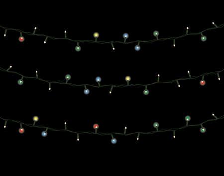Christmas lights on black illustration.